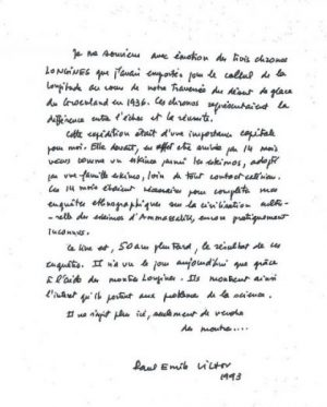 Remerciements de Paul-Emile V. à la société Longines, 1993