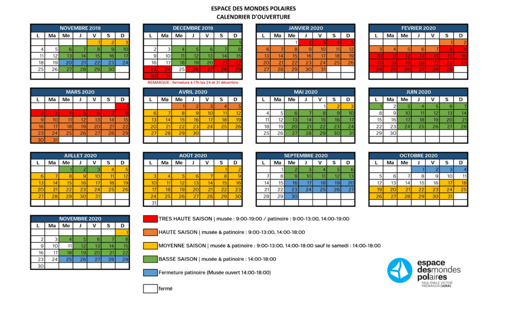 calendrier horaires 2018/2019