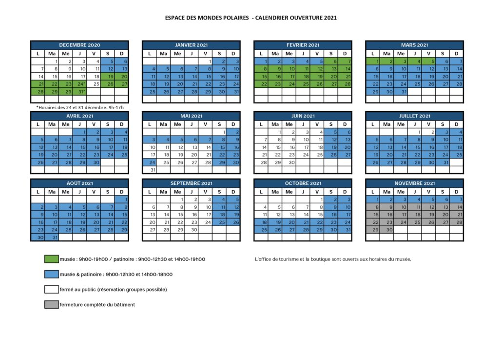 calendrier horaires 2019